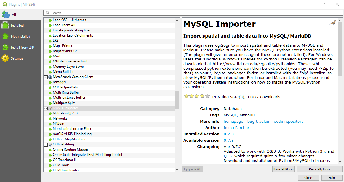 How to Install and Enable MySQL Importer Plugin on QGIS 3 4 | GIS